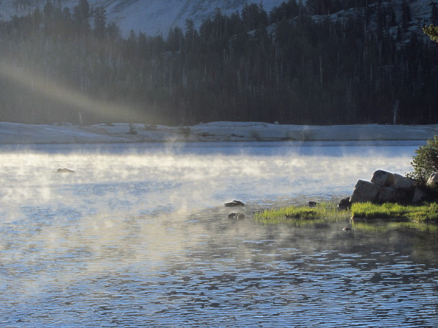 morning mist rising from the lake