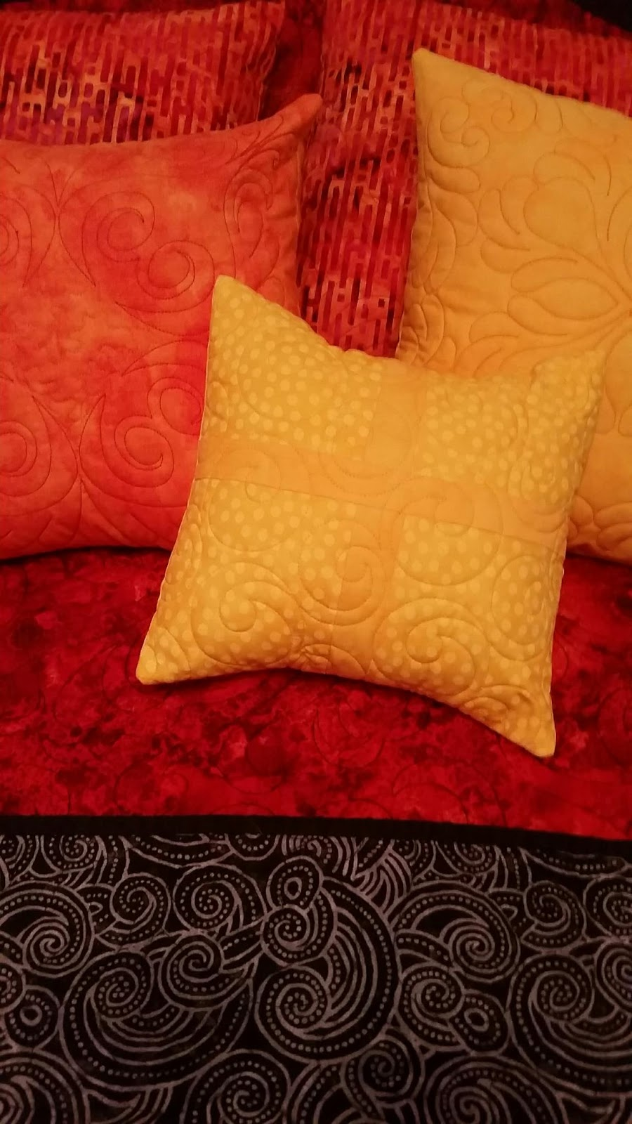 Millie S Quilting Red Quilt And Orange And Yellow Pillows