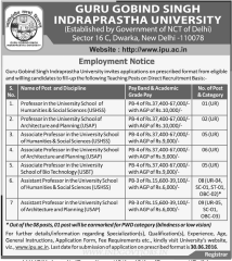 GGSIPU Faculty Recruitment 2016