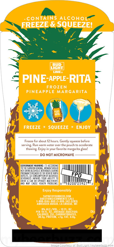 Bud Light Lime Adding Pine-Apple-Rita Frozen Pouches