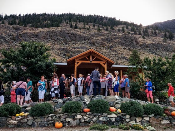 The BC Wine Appreciation Society arrives at Hugging Tree Winery