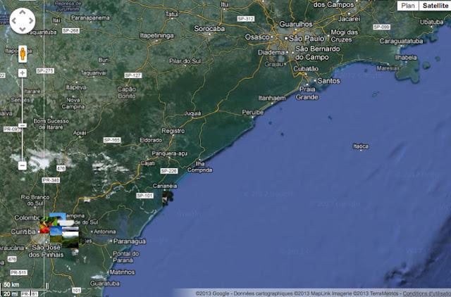 Le littoral et la Serra do Mar : états de São Paulo et du Paraná (et localisation des photos)