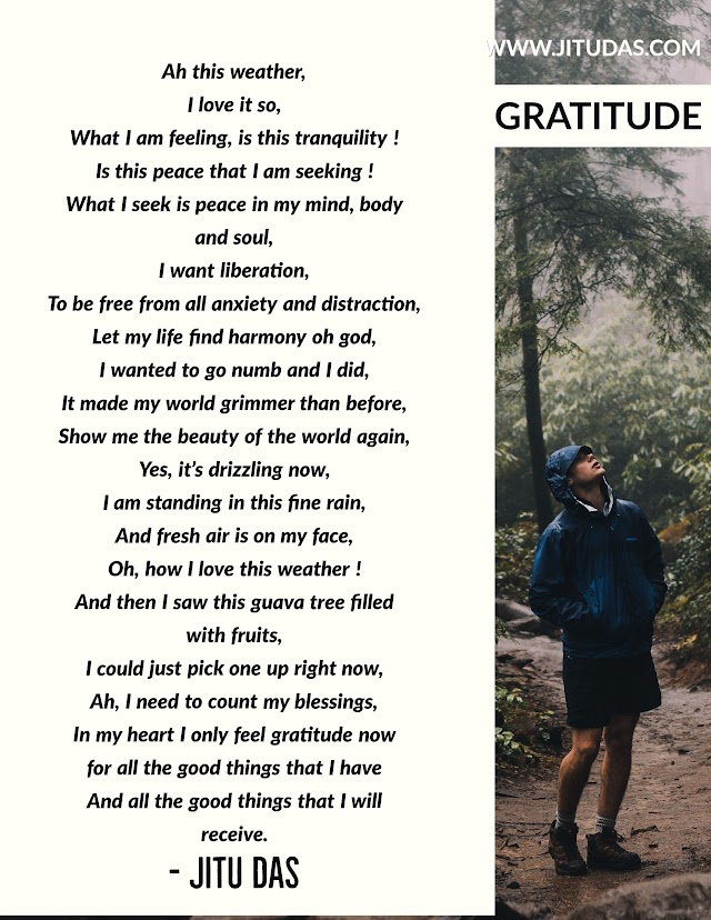 Gratitude poem by Jitu Das poems 2018