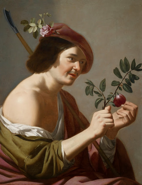 Jan van Bijlert - A young shephers with his staff and branch covered with plums