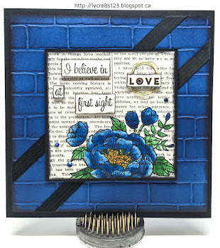 Linda Vich Creates: Birthday Blooms For Kylie Bertucci's International Stampin' Up Blog Highlight. Stunning Pacific Point watercolored blooms on Typeset DSP perch atop an embossed brick wall.