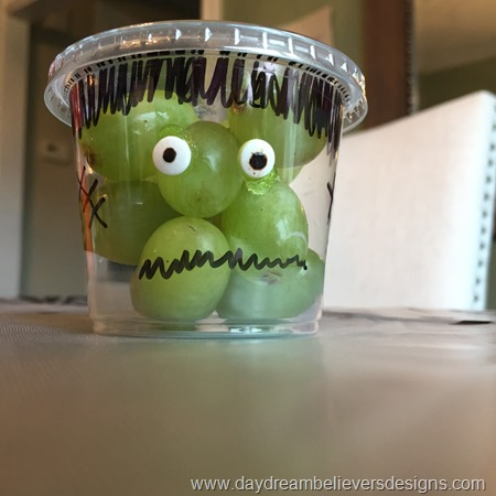 Healthy Halloween Treat. Simply DIY Frankengrapes