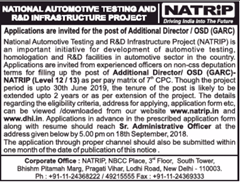 NATRiP Advertisement 2018 www.indgovtjobs.in