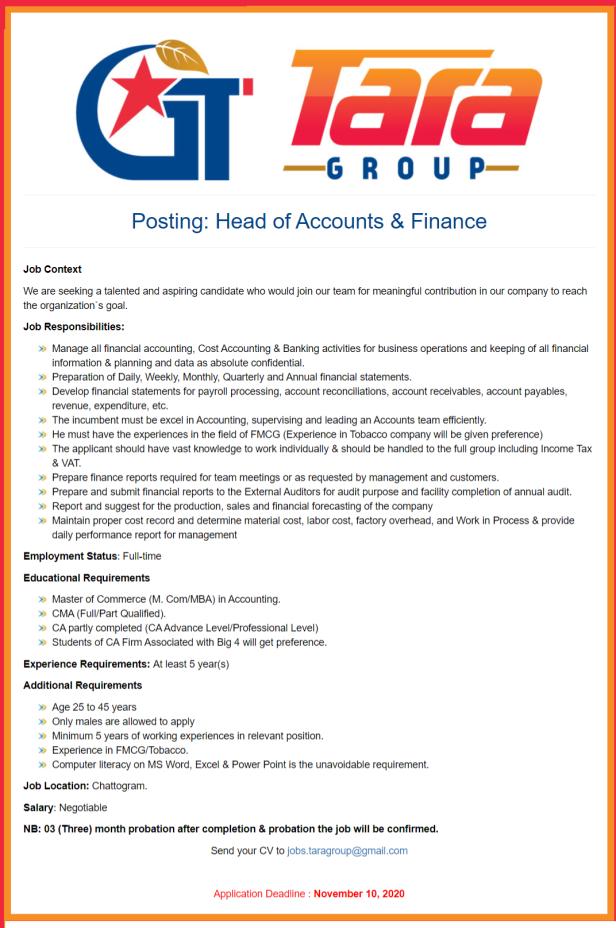 Tara Group Job Circular