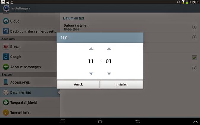Tijd instellen van Android smartphone of tablet