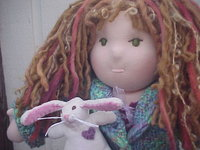 "Julia and her Bunny: 15"" Waldorf Doll, Hand Knit Sweater, Flower shoes"
