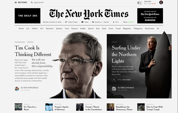 Concepto de rediseño para The New York Times