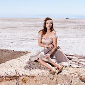 Princess of the Desert by Jeffrey Martin - People Portraits of Women ( beauty, model, princess, female model, desert, lake, photo shoot )