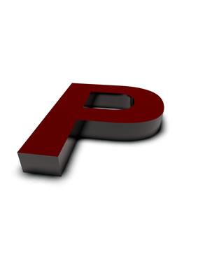 lettre 3D rouge de Chine - P - images libres de droit