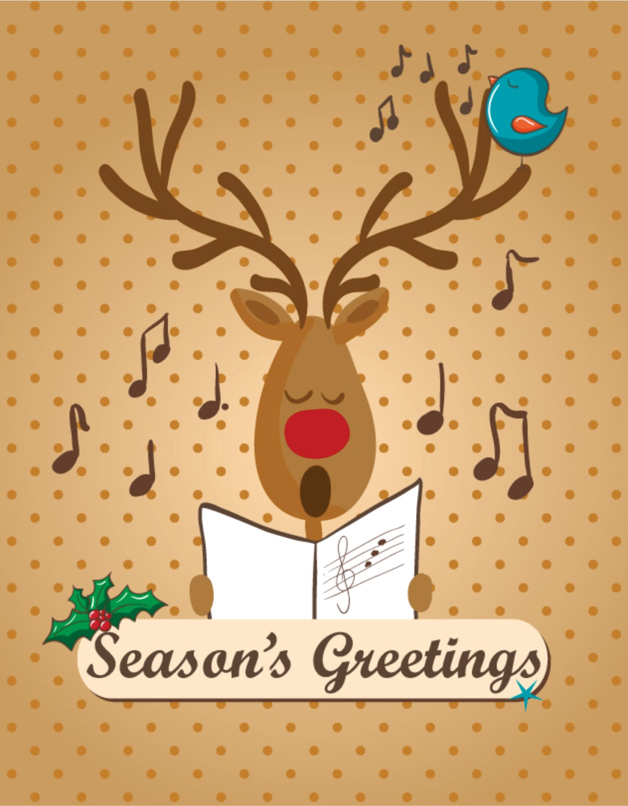 Reindeer Singing Christmas Carols Card Free Download Vector CDR, AI, EPS and PNG Formats