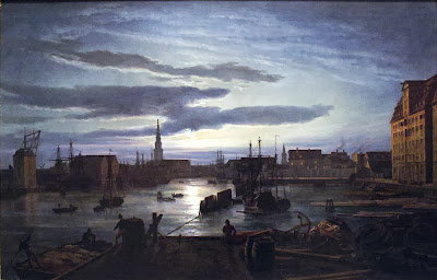 Johan Christian Dahl - Copenhagen Harbour by Moonlight.