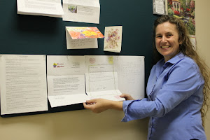 Susan, with the letter Estalin (from our Puyupungo, Ecuador church) wrote to Voice of Life.