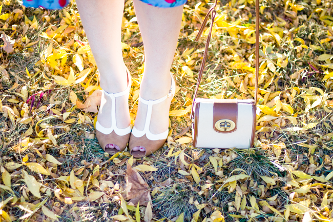 Golden autumn leaves and caramel brown Chelsea Crew Spectator heels | Lavender & Twill