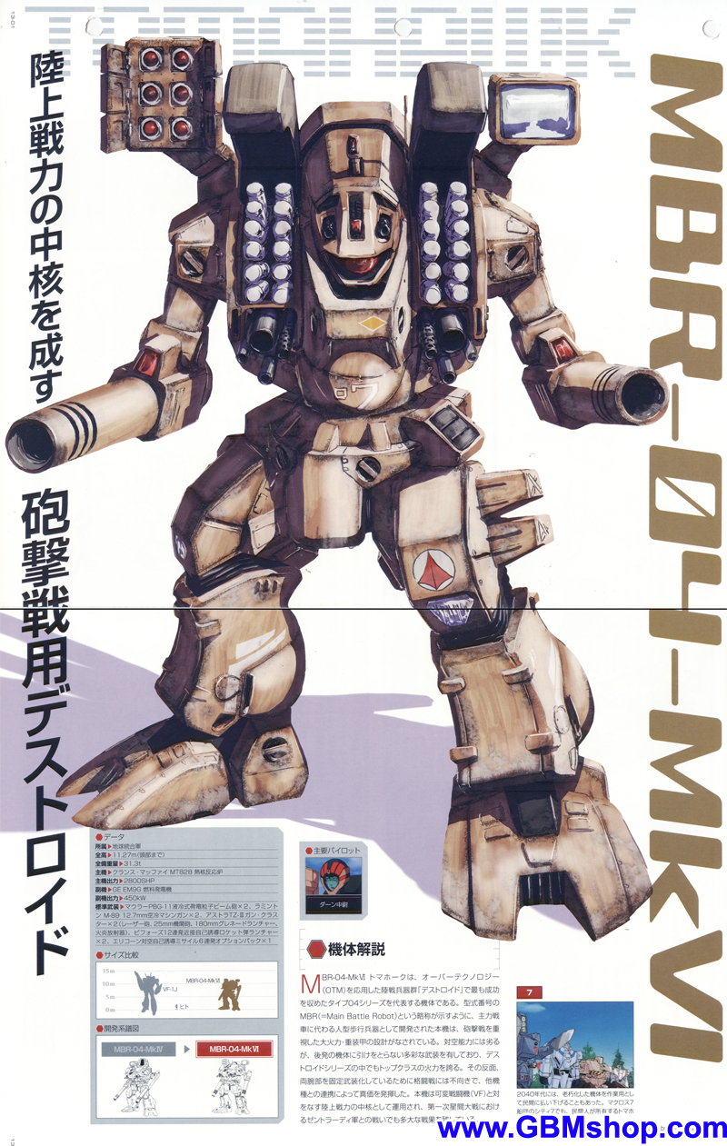 Macross MBR-04 Destroid Tomahawk Mk VI Mechanic & Concept Macross Chronicle