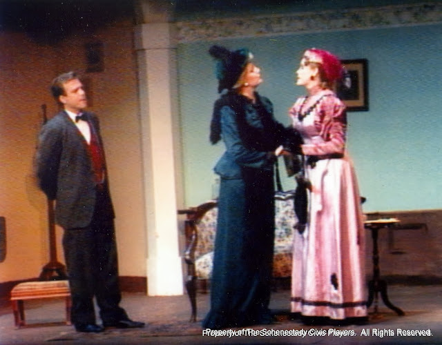 Jeff Nuding, Cristine Henry Sendra and Pat Timm in THE IMPORTANCE OF BEING EARNEST (R) - December 1989.  Property of The Schenectady Civic Players Theater Archive.