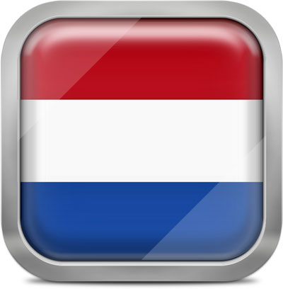 Netherlands square flag with metallic frame