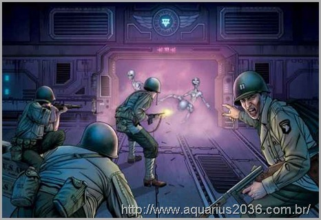Guerra entre alienígenas grays humanos na base Dulce