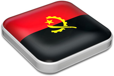 Flag of Angola with metallic square frame