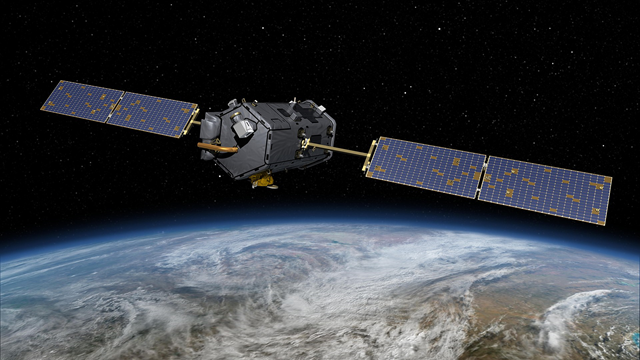 This artist's rendering shows NASA's Orbiting Carbon Observatory (OCO)-2, created on 31 December 2013. With atmospheric carbon dioxide now at its highest concentration in recorded history, the need to make precise, global, space-based measurements of this key greenhouse gas has never been more urgent. As carbon dioxide levels have increased, so too have uncertainties about them -- we don't yet have a clear picture of how these emissions are partitioned between Earth's ocean, land and atmosphere, or how Earth's forests, plants and ocean will respond to increasing levels of carbon dioxide in the future. OCO-2 addresses these critical questions to help us better assess the health of our warming planet. Graphic: NASA / JPL-Caltech