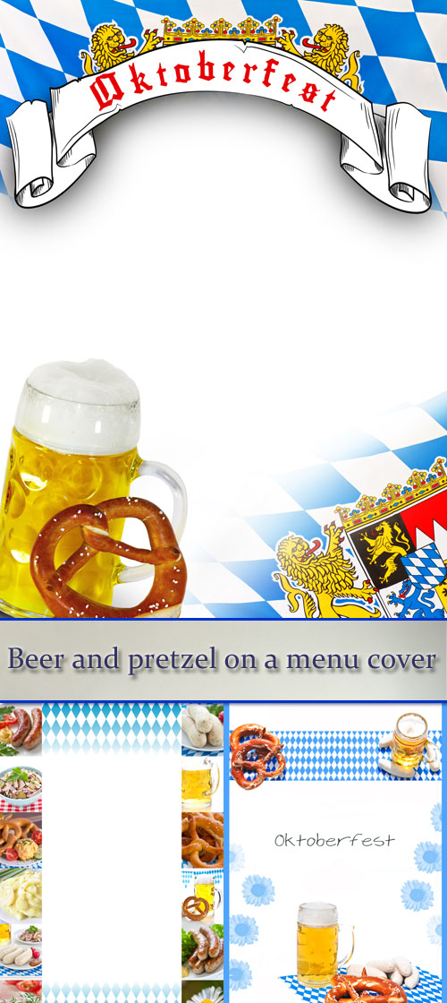 Stock Photo: Beer and pretzel on a menu cover