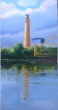 latarnia morska w Świnoujściu, olej płótno, 50x100 cm