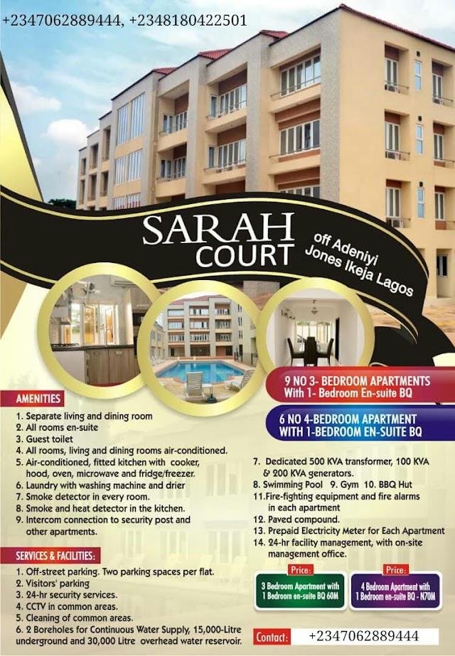 SARAH COURTS, IKEJA, LAGOS (LUXURIOUS APARTMENT FOR SALE)