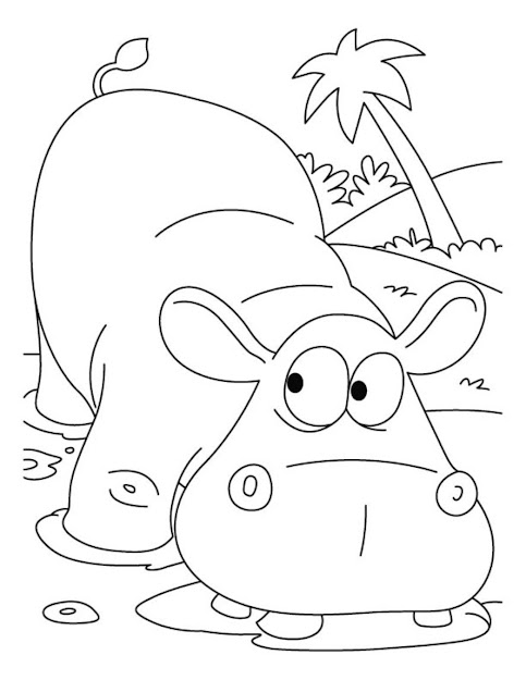 Hippopotamus African Animal Coloring Pages