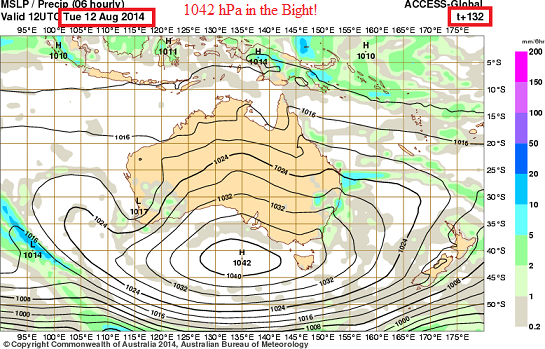 12th August 2014 1042 hpa forecast by ACCESS