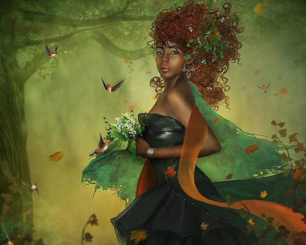 Girl With Flowers In The Forest, Fairies 3