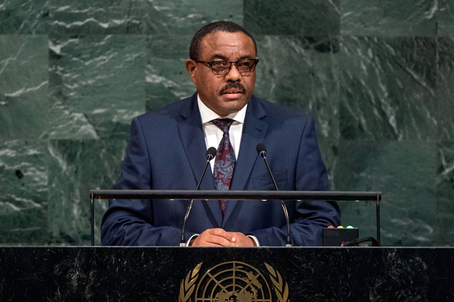 Prime Minister Hailemariam Dessalegn of the Federal Democratic Republic of Ethiopia, addresses the general debate of the seventy-second session of the General Assembly. Photo: Cia Pak / UN Photo