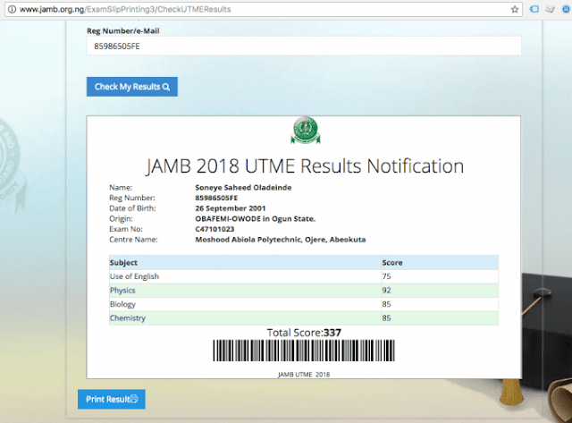 311 Not The Highest UTME 2018 Score Anymore, A Blogger Scored 337 (Picture )