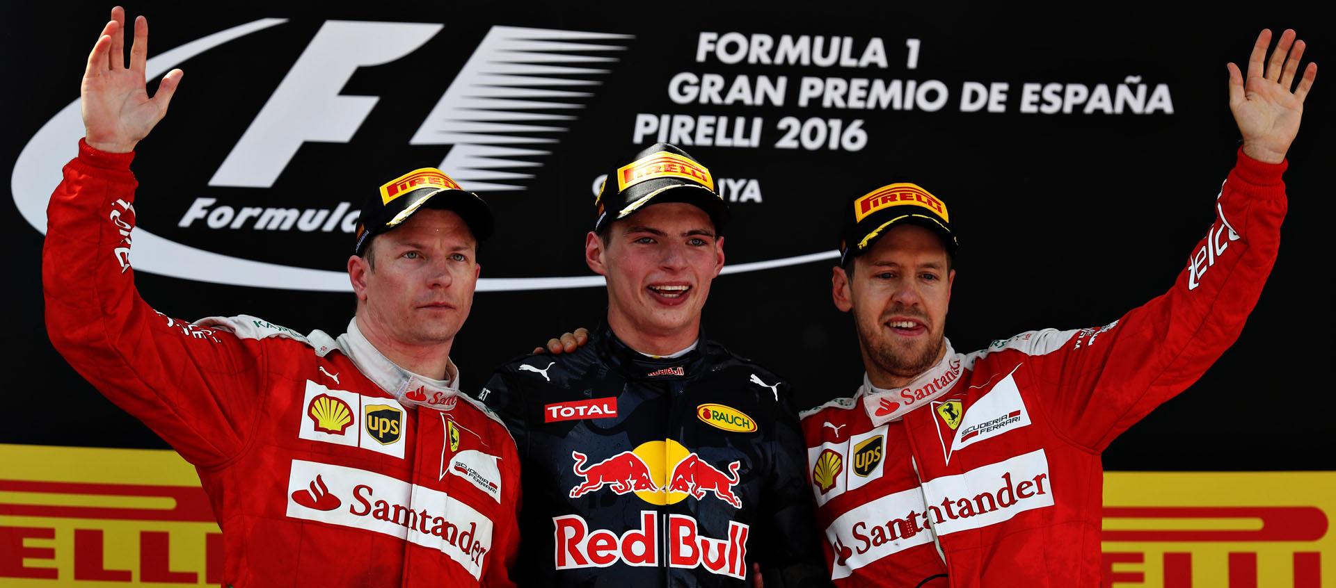 Max Verstappen, Räikkönen y Vettel en el podio del GP de España 2016 de F1
