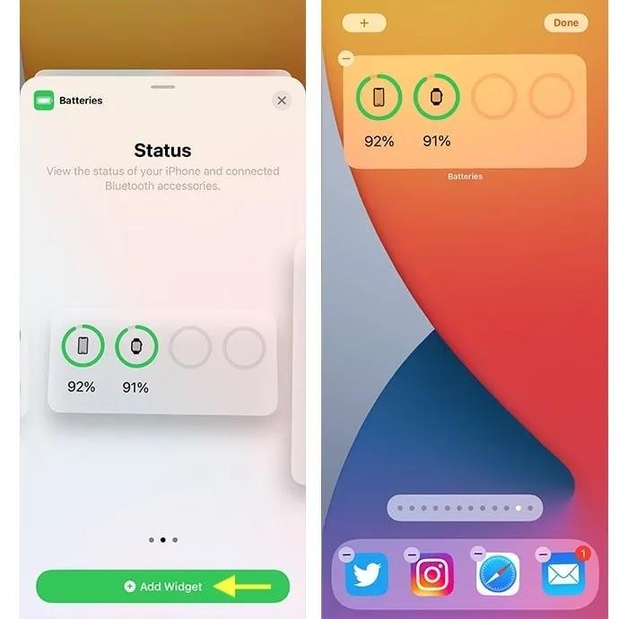 تمت إضافة القطعة البطارية النسبة المئوية لبطارية iPhone 12