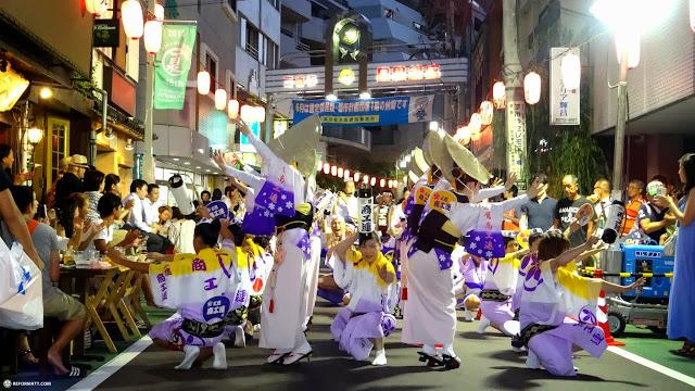 the awa odori festival in naka-meguro in Meguro, Tokyo, Japan