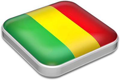 Flag of Mali with metallic square frame