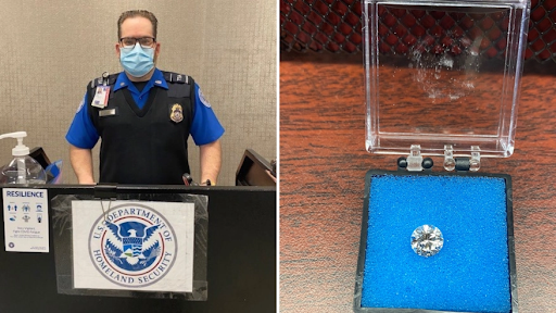 Eagle-eyed TSA agent spots missing diamond lost at JFK security checkpoint