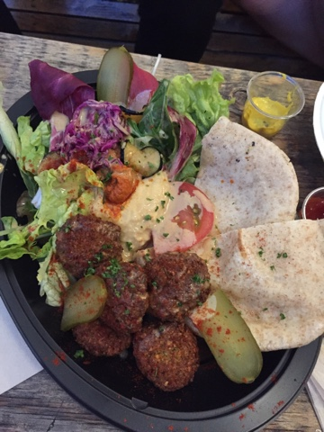 Cori Vegan Food Stand at Commune 246 had a delicious felafel plate as well as organic wine and beers in Tokyo