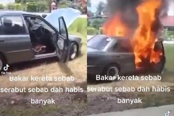Bakar kereta selepas kehabisan duit untuk baik pulih