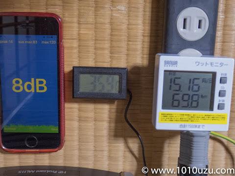 Cool'n'Quiet有効でCPU使用率40%時8dB 35.9℃69.6W