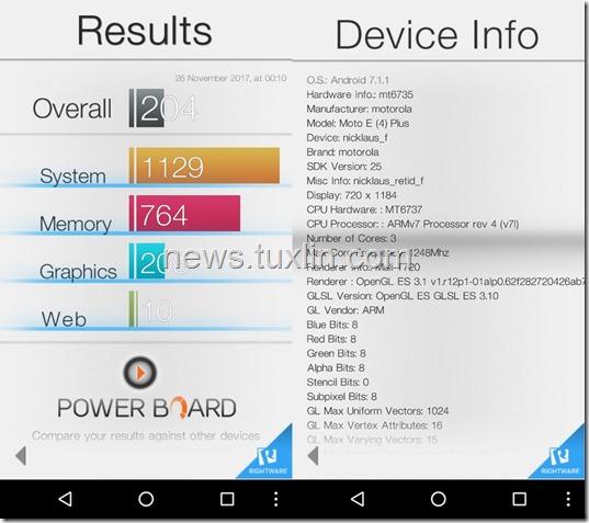 Benchmark Motorola Moto E4 Plus Basemark OS II