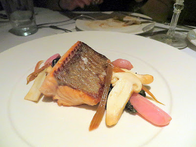 Bluehour Portland Salmon with swiss chard, radish, pine mushrooms