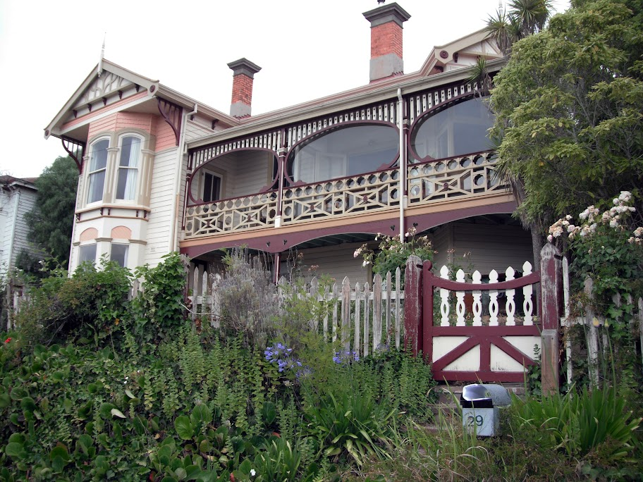 'La Hovel': Queen Anne design in timber with fine decorative timber work at 29 Trevallyn Road Trevallyn, Launceston, overlooking the Tamar river