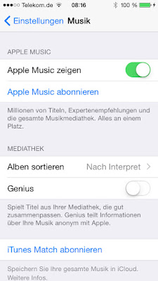 iPhone Einstellungen Apple Music