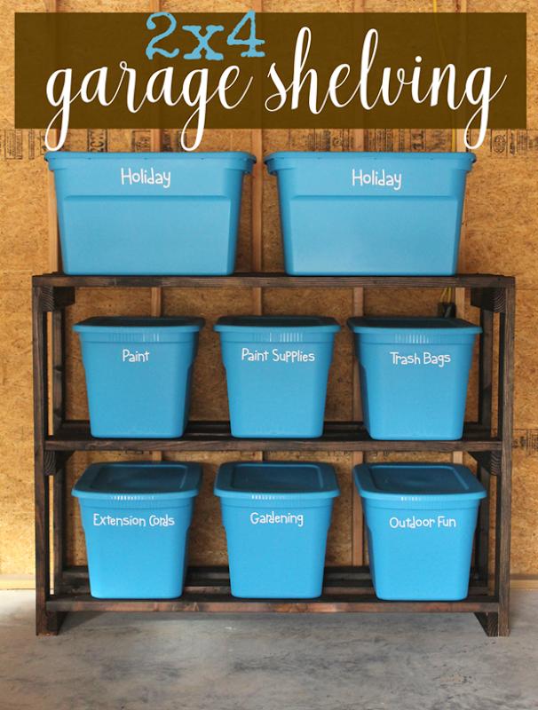 2x4 Garage Shelving #lifestorageDIY #organization