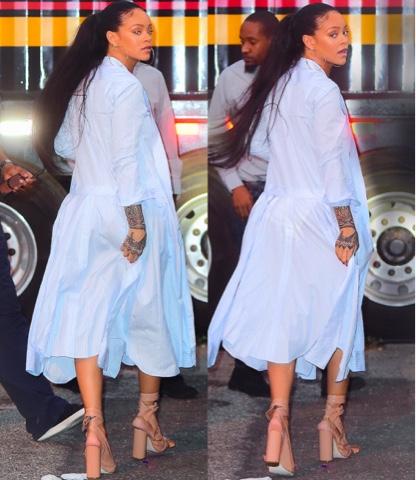 Rihanna wears Striped Thom Browne Dress in New York
