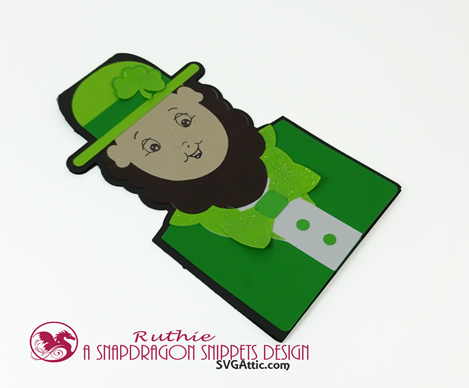 Leprechaun character shaped card, SnapDragon Snippets, Ruthie Lopez 4